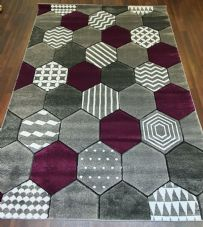 Rugs Approx 6x4ft 120cmx160CM Carved Rugs Top Quality Grey/Purple Nice Designs.